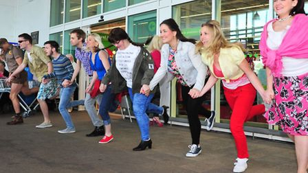 The cast of Legally Blonde from Lowestoft Players perform a short snippet of the show at Asda in Lo