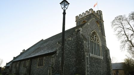 Cast iron lamp post in the grounds of St John the Evangelist church in Havering-atte-Bower. Picture: