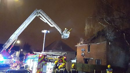 The fire took hold at the property in Chalk Road this morning. Picture credit: Twitter@LondonFire.