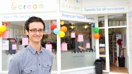 Pete Woodward has opened a new sweet shop called 'Beaches and Cream' in Station Square, Lowestoft.