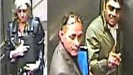 Police release CCTV images of three suspects in connection with theft of £1,000 in savings from a pe