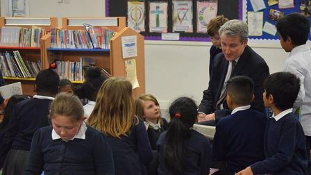 Education secretary Damian Hinds with pupils Picture: Curwen Primary Schoo