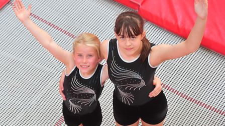 Trampolinists Kaitlin Constance,14, and Charlotte Warnes,9, from Waveney Gymnastics Club