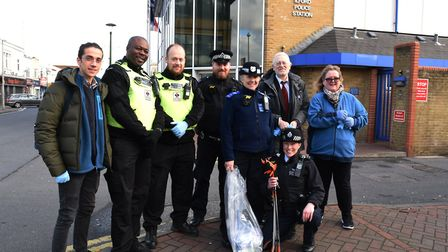 Redbridge police, council staff and volunteers out around Ilford town centre on a knife sweep.