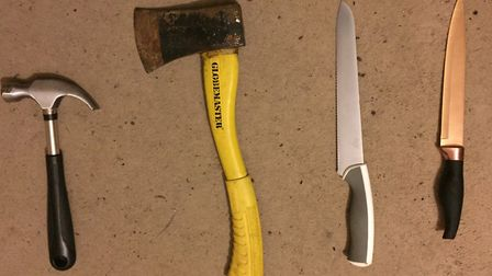 Weapons recovered during the raid. Picture: Met Police