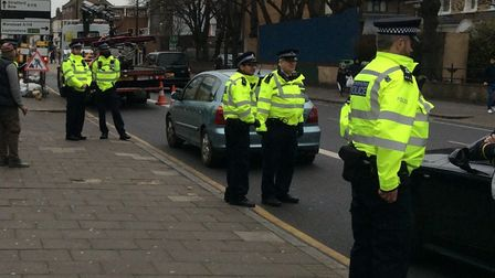 Vehicles being pulled over on Romford Road Picture: Met Police