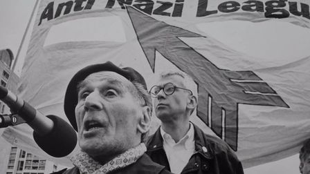 Leon Greenman at an anti-fascist protest. Photo: The Jewish Museum
