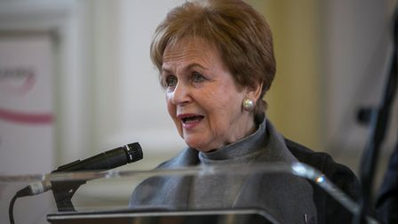 Mala Tribich giving her speech at the Holocaust memorial service Picture: Andrew Baker