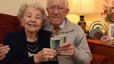 Jessie and John Pask celebrating their 70th wedding anniversary