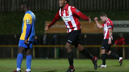 Theo Fairweather-Johnson of Hornchurch scores the third goal for his team (Pic: Gavin Ellis/TGS Phot