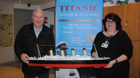 Owner of the Titanic model Brian Hopwood and museum volunteer Sharon Rendell. Picture: Havering Muse