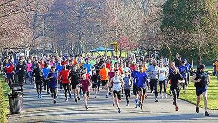Pictured are runners taking part in the Valentines Parkrun seventh birthday run. Photo by Louis Du P