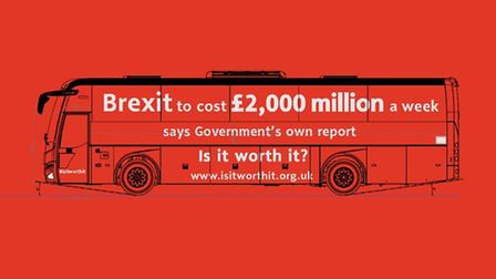 The 'Brexit is it worth it' bus parodies the one used by Vote Leave during the referendum campaign.