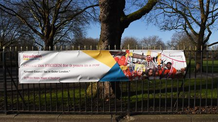 Banners featured slogans on council tax and community engagement. Picture: Ken Mears