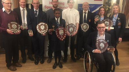 The Havering Sports Council award winners face the camera at Upminster Golf Club