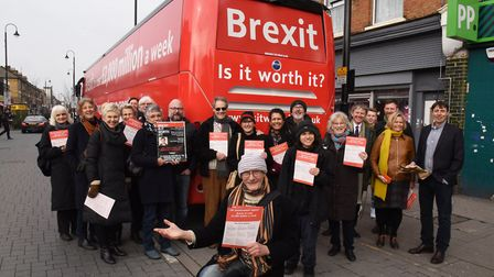 The anti-Brexit bus stopped off in East Ham High earlier this afternoon. Picture: Ken Mears