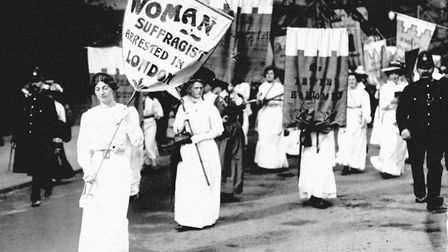 Suffragettes marching in London to protest the first arrest of a suffragette in London. Picture: PA