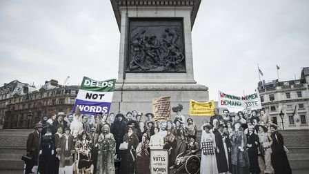 Life-sized images of the men and women to be named on the statue in Trafalgar Square Picture: Caroli