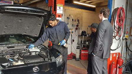 Motor mechanics apprentices at Beckton Skills Centre. Picture: Beckton Skills Centre