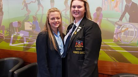 Coopers' Company and Coborn pupils Poppy Ellis, of Year 9, and games captain Phoebe Menear, of Year