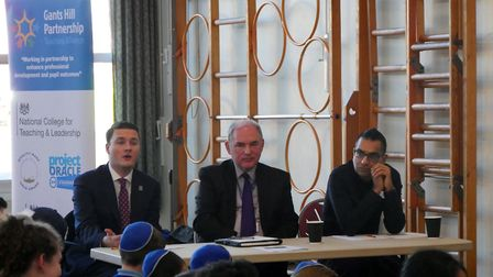 The Holocaust speech making panel: Ilford South MP Wes Streeting, Gearies Primary School headteacher