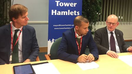 MP Stephen Timms (left) with acid attack victim Jabed Hussain and Tower Hamlets mayor John Biggs in