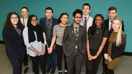Students from the London Academy of Excellence celebrating getting offers to attend either Oxford or