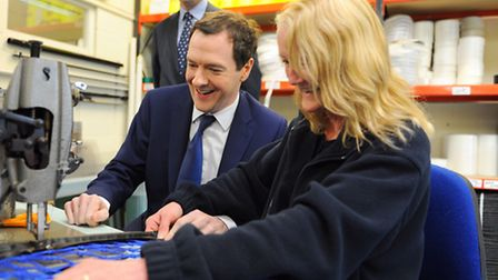 Chancellor George Osborne visited the Harrod UK factory in Lowestoft. Picture: James Bass