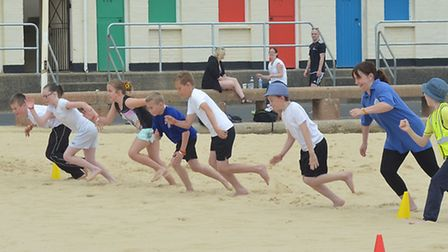 Sports activities on Lowestoft beach. Picture: MICK HOWES.