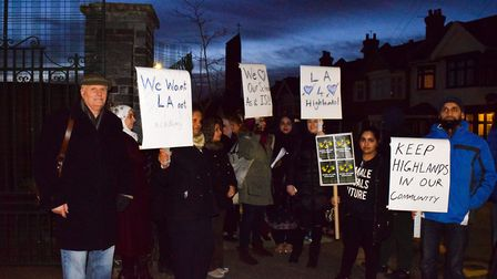 Parents protest outside Highlands Primary School fearing that it may become an academy . Photo: Tom