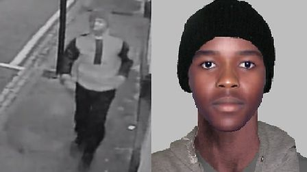 A still from the CCTV footage and an e-fit of the suspect Picture: London Met Police