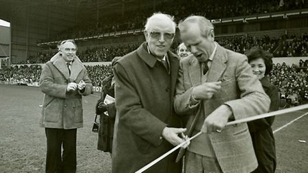 Sir Stanley Rous opening the Pioneer football stand at Portman road, Ipswich. Feb 1983