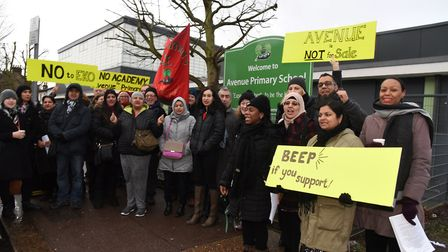 Teachers and parents outside Avenue Primary School in the last round of strikes in February. Picture