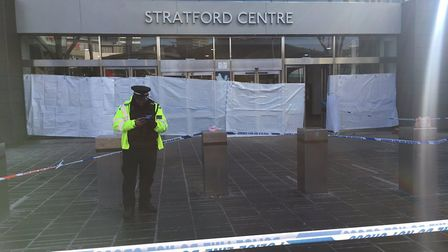 Police at the scene at Stratford shopping centre. Pic credit: Alex Shaw