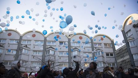 Friends and family release balloons in memory of stabbing victim Promise Nkenda. Picture: Ellie Hosk