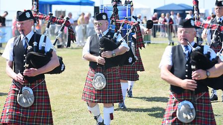 Armed Forces Day 2015 on the Royal Green in Lowestoft.Norwich Pipe Band.Picture: James Bass
