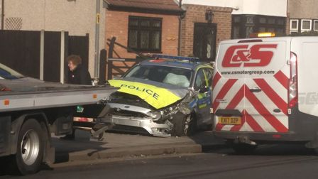 The police car crashed into a 4x4 pickup outside of Hornchurch train station. Photo: Steve Fair.