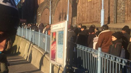 Lisa Langley was made to wait in a long queue out of Romford train station this morning. Photo: Lisa