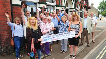 Campaigners celebrate at the Tramway Hotel.