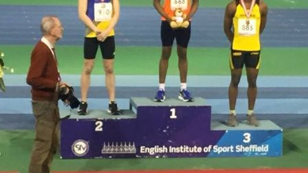 Mayowa Osunsami of Newham & Essex Beagles with his bronze medal at the England age group cjampionshi