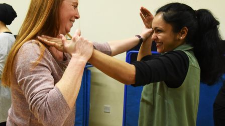 Women being trained in the art of self defence in repsonse to the increase in burglaries in the boro