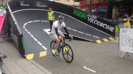 Journal editor Andrew Papworth takes on the Street Velodrome as part of the Lowestoft Summer Festiva