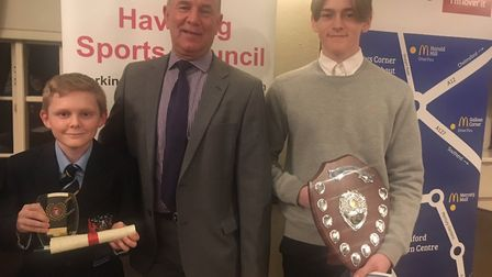 Max Law (right) won the Havering Sports Council's junior competitor of the year prize, sponsored by