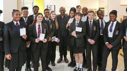 Actor Lennie James with Kingsford Community School pupils Picture: Achievement for All
