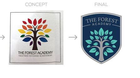 The old logo and the new. Picture: The Forest Academy