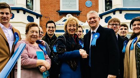 Romford MP Andrew Rosindell (centre right) shaking hands with Andrea Leadsom MP (centre left) outsid