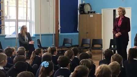 Andrea Leadsom MP talking to students at Upminster Junior School. Photo: Julia Lopez.
