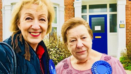 Andrea Leadsom MP (left) with Sue Connolly, the organiser of the Havering Brexit campaign (right). P