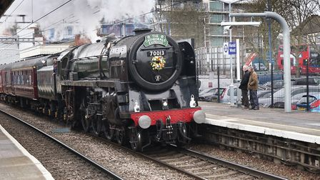 The Oliver Cromwell steam locomotive passing through Harold Wood on its way to Norwich on Thursday,
