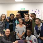 Sally Phillips with clients and staff at the Rix Centre Picture: UEL